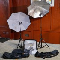 2 Photo Flash 7.5 foot Lightstands - 1 Softbox - 2 Umbrellas