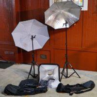 2 Photo Flash 7.5 foot Lightstands - 1 Softbox - 2 Umbrellas
